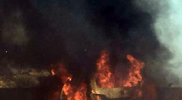 LPG'li araç alev alev yandı
