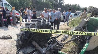 Yük treni traktöre çarptı
