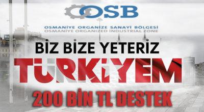Osmaniye OSB'den 200 bin TL destek