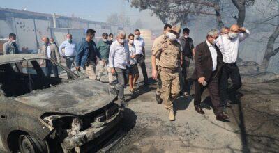 Vali Rahmi Doğan, yangın bölgesinde