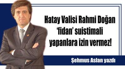 Hatay Valisi Rahmi Doğan 'fidan' suistimali yapanlara izin vermez!