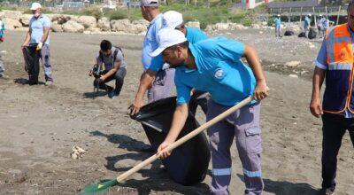 Samandağ'da hummalı petrol atığı temizliği